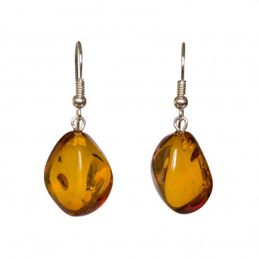 Twisted cognac amber earrings #09