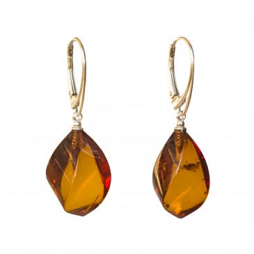 Twisted cognac color amber earrings #02