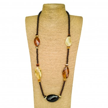 Twisted mix natural amber stones on cherry beads string