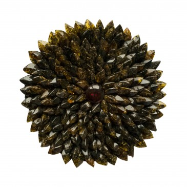 XL dark green dahlia brooche