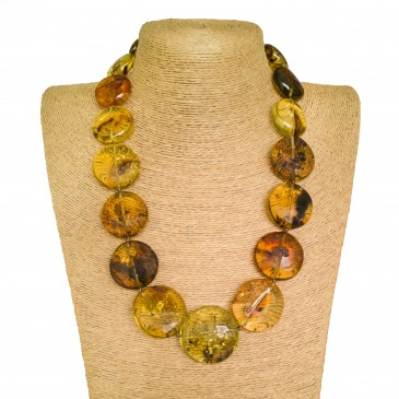 XL round multicolor copal beads necklace #02