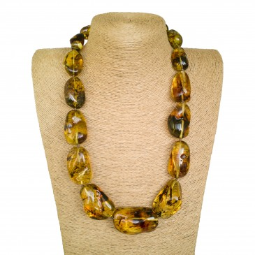 XL semi-raw shape cognac color copal necklace #03