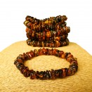6 pcs of natural amber multicolor chips bracelets