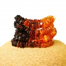 5 pcs of natural amber rainbow chips bracelets