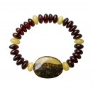 1 dark green olive x cherry x matt beads bracelet