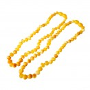 Natural amber frosted baroque teething baby necklace matt color (2pcs)