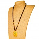 Round cherry color beads and twisted green pendant necklace