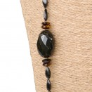 3 faceted olives extra long necklace