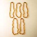 Natural amber frosted baroque teething baby necklace multicolor (5 pcs)
