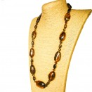 Dark coganc olives long necklace