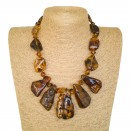 Cognac color 5pcs copal necklace #02