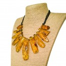 Cognac color copal necklace x cotton thread #02
