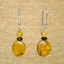 Cognac flat plums earrings