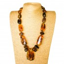 XL cognac free form copal necklace #02