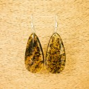 Natural amber green earrings #01