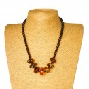 Natural cherry & green amber faceted beads necklace