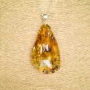 Free form lemon color amber pendant #01
