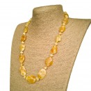 Free shape natural amber matt necklace #03