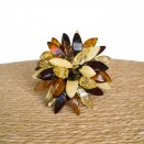Genuine amber multicolor flower ring on elastic thread