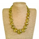 Green copal round beads necklace #01