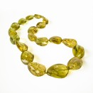 Green twisted copal beads necklace #02