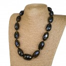 L dark faceted oval  statement necklace