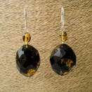 L dark green faceted olives x bead earrings