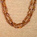 L extra long free form cognac necklace