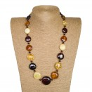 L mix round x beads long necklace