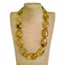 Light cognac color copal plums necklace #02