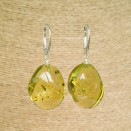 Light lemon copal twisted earrings #02