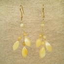 Matt color natural amber ivy earrings #02