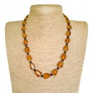 Medium cognac color faceted beads necklace #01