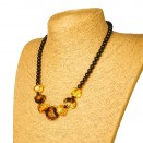 Natural multicolor amber faceted beads necklace