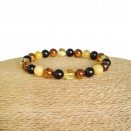 Multicolor genuine amber round (8mm) beads bracelet