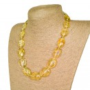 Natural amber bright clear lemon color plums necklace