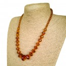 Natural amber cognac color faceted beads necklace