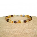 Natural amber faceted cube beads multicolor bracelet
