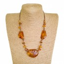 Natural Baltic amber cognac color free shape necklace
