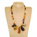 Natural Baltic amber multicolor free shape necklace