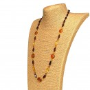 Cognac x cherry twisted long necklace