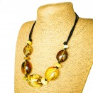 L dark cognac olive necklace