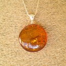 Oval shape cognac color amber pendant #08