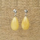 S natural amber matt drops earrings #01