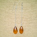 SY cognac color amber drops earrings #03