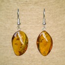 Twisted cognac amber earrings #08