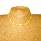 Genuine amber beans teething baby necklace in natural color (5 pcs)