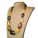 XL oval mix long statement necklace