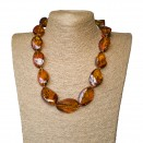XL twisted cognac statement necklace