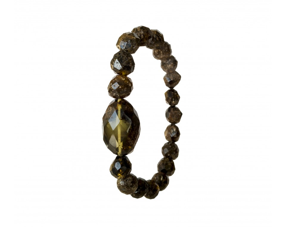 1 misty olive x faceted green beads bracelet #01
